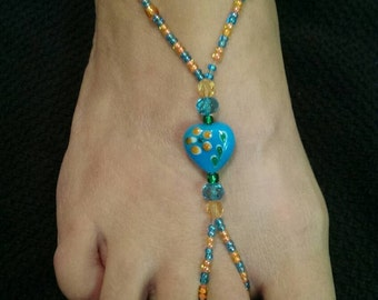 Light Blue/Orange Heart Barefoot Sandals (Medium)