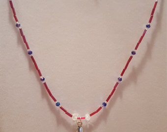 Red, white and blue spoon necklace