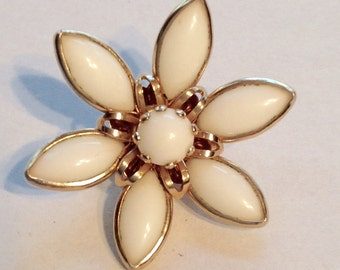 Vintage Milk Glass Flower Brooch