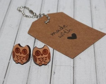 Wood Earrings Owl Laser Cut Bamboo Wood Stud Earrings - Great Gift Idea - Ladies Accessories
