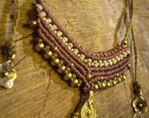 Necklace, necklace ~ U BEAUTY ~ macrame, jewelry, brass beads, nature gypsy jewelry