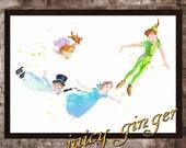 Peter Pan art print,Peter Pan disney, watercolor poster, Art Print, instant download, Watercolor Decor