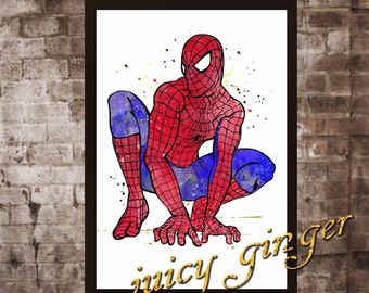 Spider-Man art print , superhero watercolor poster, Art Print, instant download, Watercolor Print, poster, Home Decor