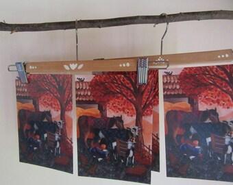 Postcard 4 set - 'Autumn day'