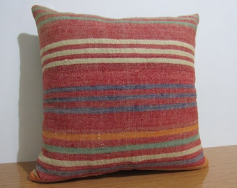 Flat Woven Vintage Turkish Kilim Pillow 18 x 18 Modern Decorative Pillow Multi purpose Organic Pillow Accent Pillow Home Decor Chair Pillow