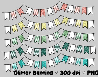 Digital Bunting Clipart Commercial Use Clip Art Graphics Bright Glitter Flags Bright Glitter Chevron - Set 2