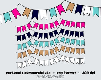 PREPPY PALETTE Digital BUNTING - Clipart - Commercial Use - Clip Art Graphics - Scrapbooking Flags - Personal and Commercial Use