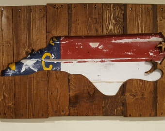Reclaimed Wood North Carolina Shadowbox Flag Outline Wall Art