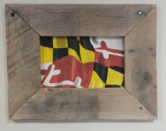 Maryland flag watercolor Reclaimed Wood frame