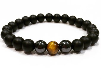 Onyx bracelet,tiger eye bracelet,mans tiger eye bracelet,onyx and tiger eye bracelet,mala jasper for man bracelet,tiger eye and onyx bracele