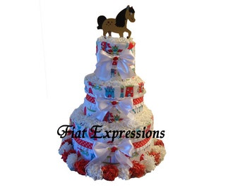 Castle 3 Tier Diaper Cake Baby Shower Gift & Baby Shower Table Centerpiece