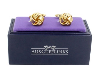 Gold Knot Cufflinks | Golden Cuff Links | Groomsmen Cufflinks | 21st Birthday Gift | Cufflinks Gift Box Included | Comes with 5 Yr Warranty!