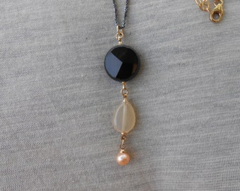 Onyx pendant necklace gold, Onyx necklace gold, Onyx pendant gold