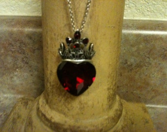 Absolutely Stunning Silver/Ruby Royal Crown& Heart Necklace