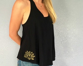 Black Racerback Tank with Gold Lotus LAST ONE