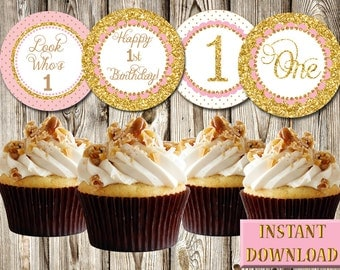 """1st Birthday, Pink Gold, Girl, Cupcake Toppers, Tags, Labels, DIY, Printable, PDF, Round 2.5"""", Party Favors"""