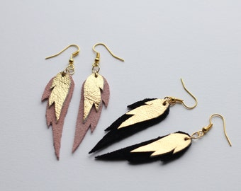 Mini Leather Feather Earrings