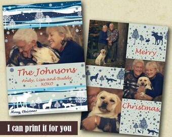 Photo Holiday Card Christmas Photo Card Christmas Printable Card Christmas Card Photo Xmas Card Photo Greetings Photo Card Reindeer Snowing
