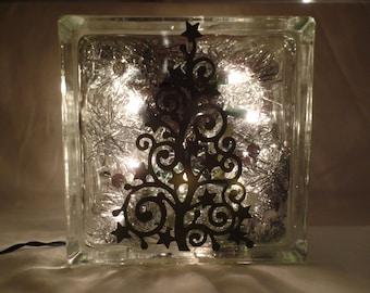 Christmas Tree Glass Block
