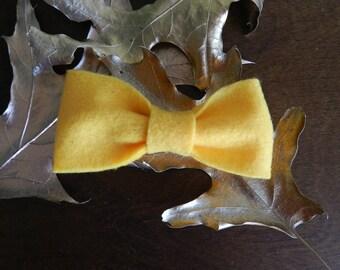 Yellow Felt Clip-on Bowtie