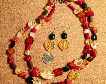BOUTIQUE INVENTORY LIQUIDATION! Custom double-strand necklace & earring set