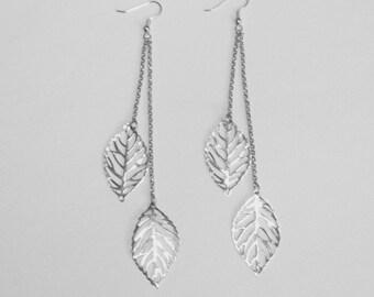 Dual Leaf Silver Earrings