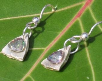 Quartz Drop Silver Earrings