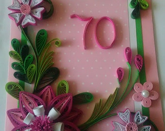 70th Birthday card,  Quilling Birthday Day 20th,30th,40th,50th,60th,80th, Quilled 70th Birthday Card,  Greeting Card,  Handmade Quilled Card