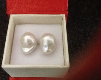 Large baroque pearl stud earrings with 18k gold posts