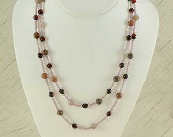 Purples and Reds Necklace (gemstone)