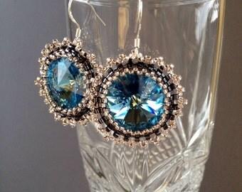 Aquamarine Beaded Swarovski Rivoli Crystal Sterling Silver Earrings
