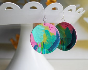 handpainted wooden earrings - round disk earrings - colorful handmade earrings - statement earrings - gifts for her - unique gifts