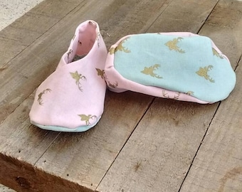 Baby shoes, baby shower gift, pink and green baby shoes, pink baby shoes, baby girl shoes