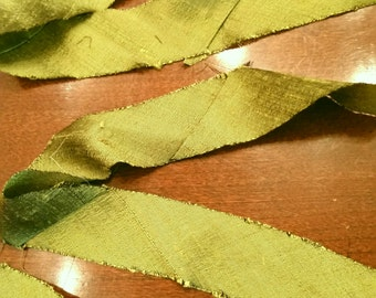 Olive Green Ribbon- 1 inch Bias - Peridot Silk Dupioni - By the Yard