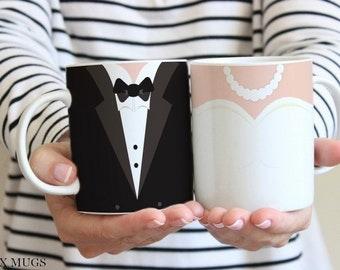 Bride and Groom Mugs, Wedding Mugs, Couples Mugs Set, Wedding Cups, Bridal Shower Gift, Bride Gift, Wedding Gifts, Engagement Gifts (w611)