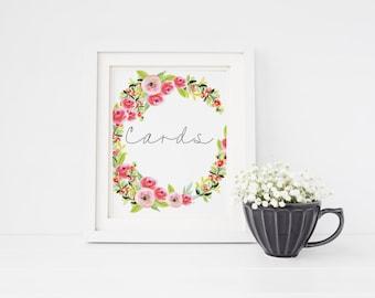 Cards sign, bridal shower decorations, party table prints, watercolour wedding decor, script font wall art, engagement celebration prints S3