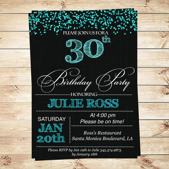 Women's 30th Birthday Party Invitations 30th Birthday