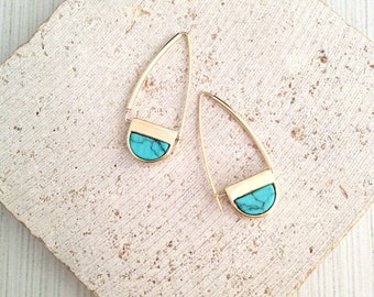 Marble Earring,Geo Marble Earring,Turquoise Marble Earring,Marble Stone Earring,Stone Earring,Marble Dangle Earring,Turquoise Stone Earring