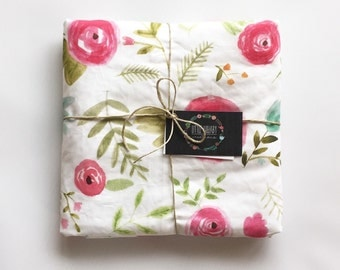 Pretty Floral Minky Baby Blanket- Modern Minky Blanket- Stroller Blanket- Baby Blanket- Baby Shower Gift- Baby Girl, Floral, Pink, Turquoise