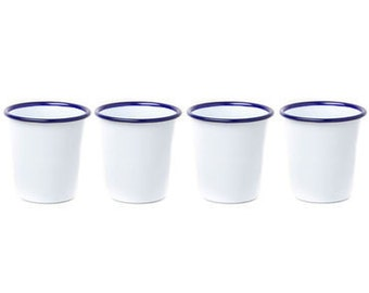 Enamelware White w/Blue Rim Short Tumblers Set of 4