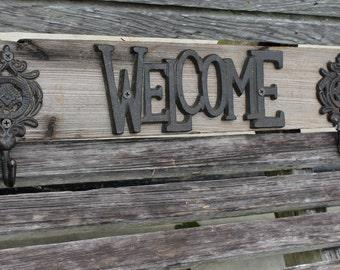 CYPRESS wooden coat rack, rustic coat rack, key holder, coat hooks, coat hanger, welcome sign, wall decor, reclaimed wood, towel rack