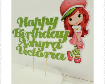 Strawberry Shortcake--Inexpensive Personalized Cake Toppers with Name & Character--Kid's Birthday Party Decorations