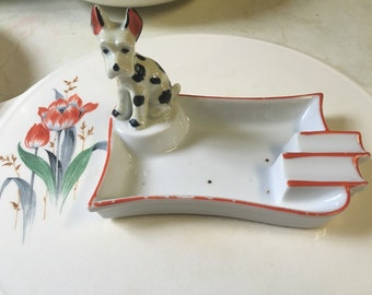 hand painted TRICO mid century ashtray with puppy