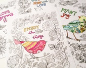 Sue Zipkin printable set of 4 happy bird inspirational  art coloring book pages pdf