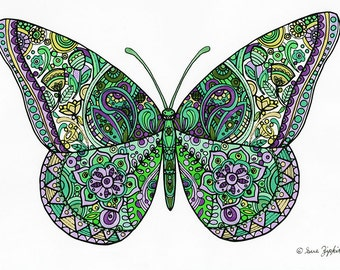 Sue Zipkin printable butterfly coloring book page PDF file for instant download