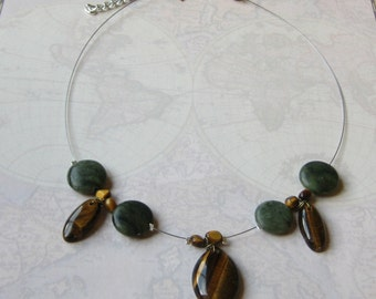 Jasper and Tiger's Eye Necklace, Green and Gold Drop Necklace, Jasper Collar Necklace, Tiger's Eye Collar Necklace, Simple Collar Jewelry