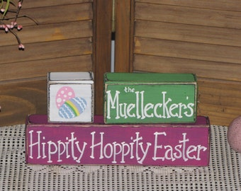 Easter wooden block set personalized name primitive country decor Easter shelf sitter Holiday decor wood stacking blocks hand painted