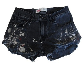 Custom Destroyed Thrashed Trashed Painted Frayed Fringed Levis 511 Cut Offs Shorts