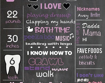 Birthday chalkboard sign - baby's first birthday poster - personalized and printable