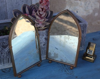 Pair of Gothic shaped Brass Mirrors/ Brass Gothic Mirrors/ Patina glass gothic mirrors/ Brass church mirrors/ Arched vintage mirrors.